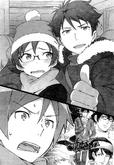 The Kousaka siblings encounter the Akagi siblings buying eroge