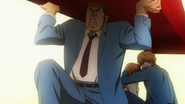 Takeo saving Rinko from a steel beam