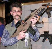 Idiot with giant gun