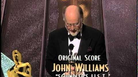 "John Williams winning Best Original Score for ""Schindler's List"""