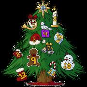 Advent tree ornamented