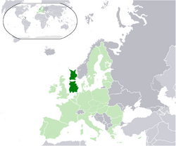 Location of Ostrobia (dark green) within the European Union (light green)