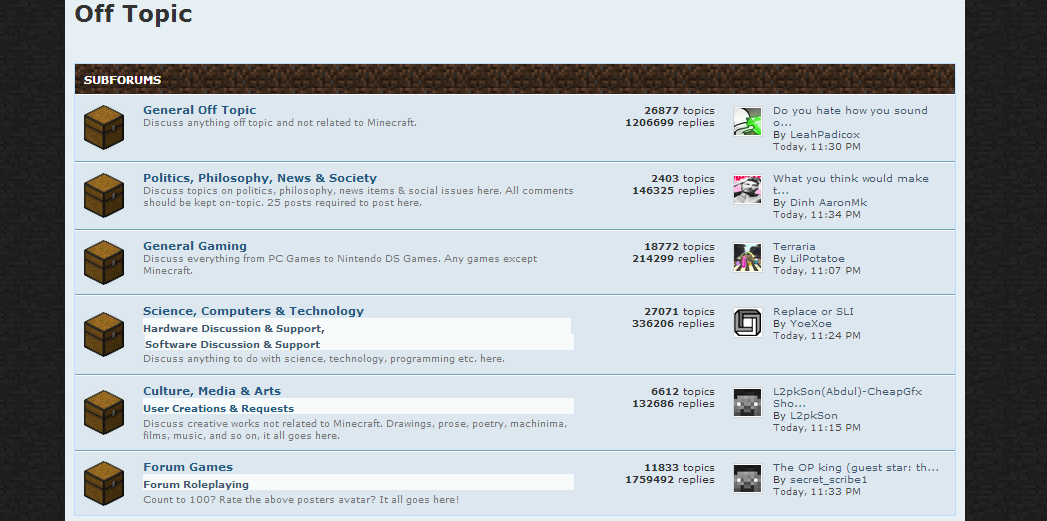 Off Topic (Minecraft Forums)   OTterpedia Wiki   FANDOM powered by Wikia