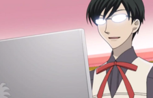 Kyoya on his laptop