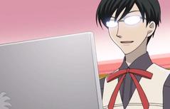 Kyoya on his laptop