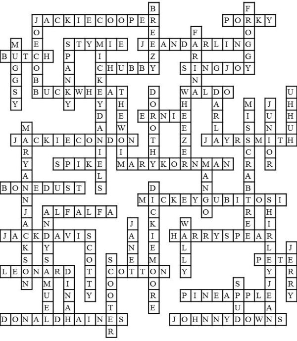 Our Gang Crossword Solution
