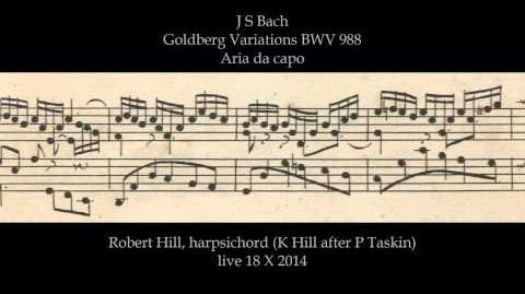 J S Bach Goldberg Variations BWV 988. Aria da capo. Robert Hill, harpsichord 18.10