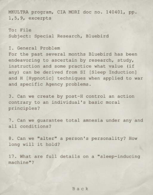 MKULTRA Program Excerpt | Outlast Wiki | FANDOM powered by Wikia