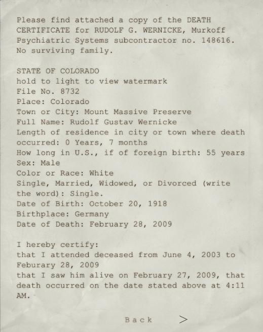 Dr. Wernicke Death Certificate | Outlast Wiki | FANDOM powered by Wikia
