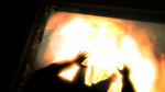 Miles getting struck by fire...