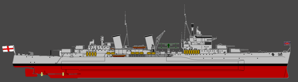 HMS Belfast Starboard Elevation