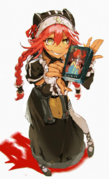 Lupusregina having her hands on a Overlord Novel
