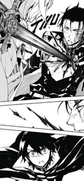 Mika apuñala a Guren (Manga)