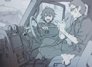 Shiho repairing the car anime artbook