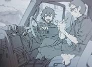 Shiho repairing the car anime artbook