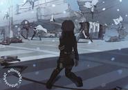 Shinoa watching the battle anime artbook