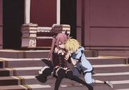 Krul giving Mika her blood anime artbook