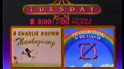 1980 Charlie Brown & Thanksgiving In The Land Of Oz CBS Promo