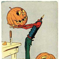 Jack Pumpkinhead changes his pumpkins.