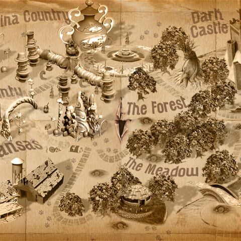The in-game map showing the different lands in Legends of Oz World.