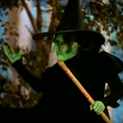 The Wicked Witch of the West displaying her power in the 1939 film.