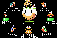 Super Mario World - Super Mario Advance 2 bowser and the koopalings