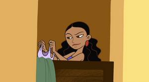 Monique in dressing room