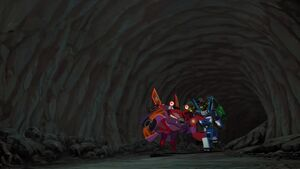 Grimlock and Strongarm chasing Clampdown