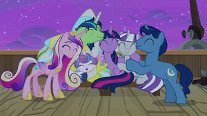 Sparkle family in a big group hug S7E22