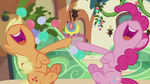 Applejack and Pinkie laughing together S5E20
