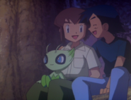 Ash and Sam laughing with Celebi
