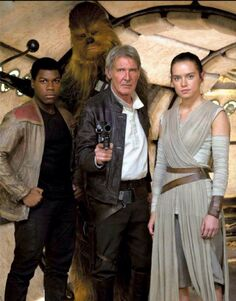 Finn, Chewie, Han and Rey