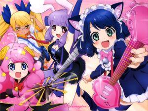 Yande.re 318944 sample animal ears bunny ears cleavage cyan (show by rock!!) dress guitar maid megane moa (show by rock!!) nekomimi show by rock!! thi
