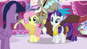Fluttershy, Discord and Rarity