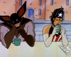 Americanmaidanddiefledermausdrinkingcoffee