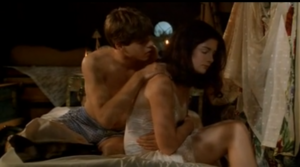 Dennis (Matthew Lawrence) in his boxers with Odette (Gaby Hoffmann) in (Strike! - All I Wanna Do - The Hairy Bird) comforting Odette about her wish not being fulfilled