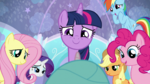 Mane Six aww-ing at Baby Flurry Heart