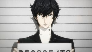 Protagonist P5 receiving a mugshot