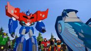 Optimus, Aerobolt, Grimlock, Drift and Sideswipe