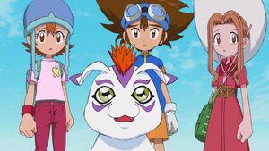 Sora, Gomamon, Taichi and Mimi