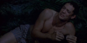 Jerry Conlaine (Matthew Lillard) in Without a Paddle in his boxer shorts surviving in the wilderness