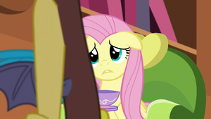 Discord crosses in front of Fluttershy S5E7