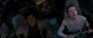Finn and Rey looking up