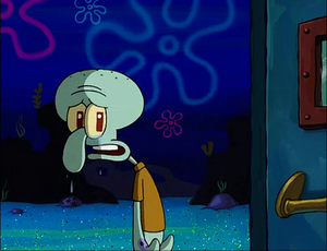 Squidward is upset after failed to create a band