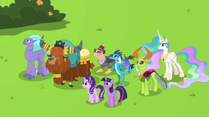 Twilight, Starlight, and leaders look at the flag S8E2