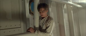 Jack Dawson handcuffed to the ships lower deck by Cal Hockley