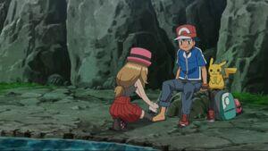 Serena tending Ash's Foot