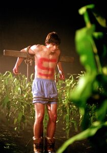 Clark Kent tied up as a scarecrow in Smallville