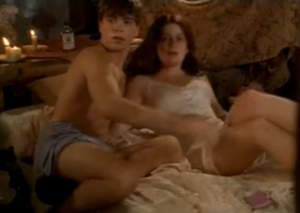 Dennis (Matthew Lawrence) in his boxers with Odette (Gaby Hoffmann) in (Strike! - All I Wanna Do - The Hairy Bird) surprised by Mr. Dewey