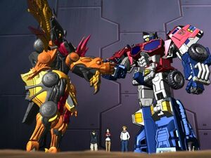 Optimus Prime And Scourge Shaking Hands